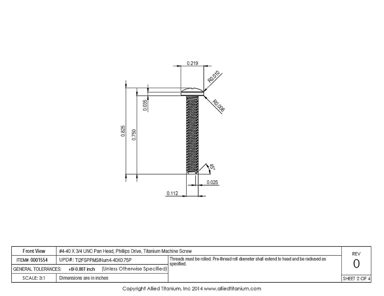 CP #4-40 X 3//4 UNC Titanium Pan Head Machine Screw 608329001 Pack of 25 Inc Grade 2 Allied Titanium 0001554, Phillips Drive