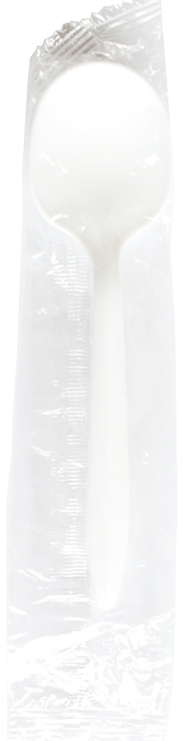 Daxwell Medium Weight Polypropylene 5 5/8'' Soup Spoon, Individually Wrapped, White, Recyclable (Box of 250)