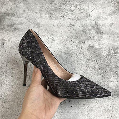 Titoboo High Heels Spring New Sharp Pointed Korean Version of Sexy Silver  High Heel Broken Code 17a29f098ebd