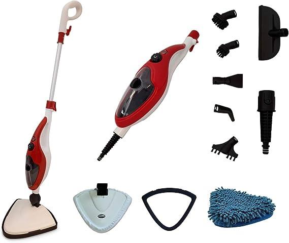 Aqua Laser Brilliant - Limpiador de vapor para suelos (limpieza y desinfección sin productos de limpieza, incluye 13 accesorios)