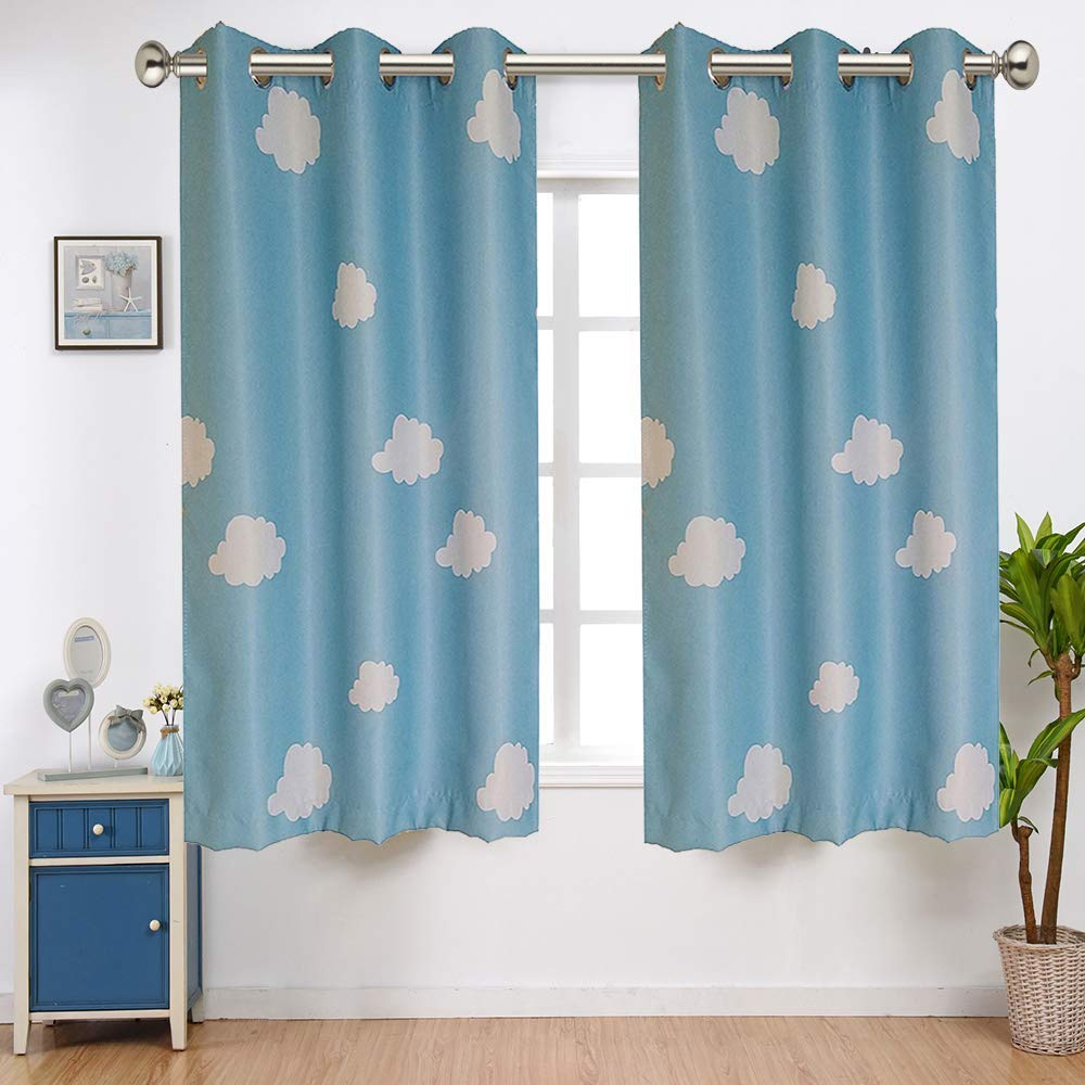 WINYY White Cloud Semi Blackout Window Curtain for Kids Bedroom Living Room Kitchen Grommets Eyelets Top Curtain Noise Reducing Home Decor 1 Panel W39 x H63 inch