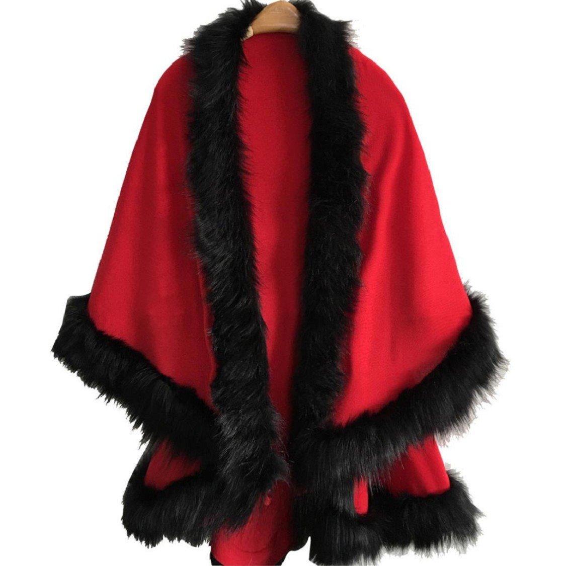 Ikevan Women's Fashion Elegant Faux Fur Collar Poncho Cape Thin Cape Shawl Stole Wrap Hoody Coat Dual-Use Spring Autumn 130x135cm (Khaki)