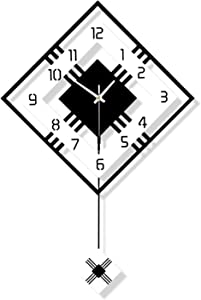 Large Wall Clocks for Living Room Decor Wall Clock - Battery Operated Silent Non Ticking Pendulum Hanging Clocks Square Digital Design Wall Clock Decor for Bedroom Office School (16.5In-Clock)