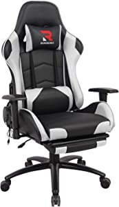 RIMIKING Massage Gaming Chair - Computer Office Racing Chair with Retractable Footrest Adjustable Lumbar Cushion Headrest Swivel Rocking Desk Chair (White)