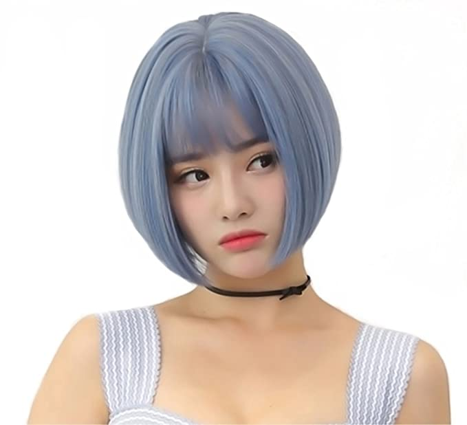 Amazon Com Light Blue Bob Short Hair Cosplay Wig Anime Synthetic