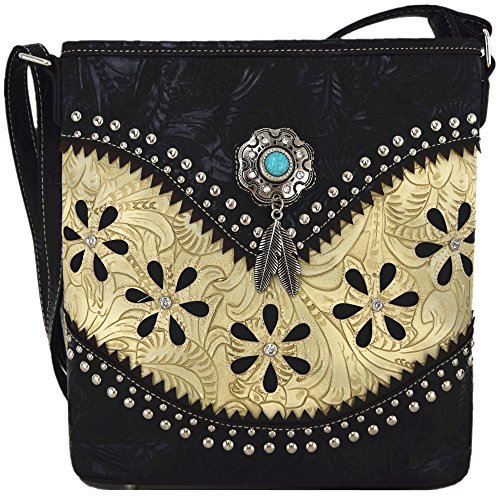 Western Style Tooled Leather Cross Body Handbags Concealed Carry Purse Women Country Single Shoulder Bag (Beige)
