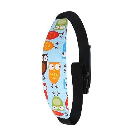 Uraqt Bebés Soporte de la Cabeza para Cinturón de Seguridad de Coche, Patrón de búho,Paquete de 1