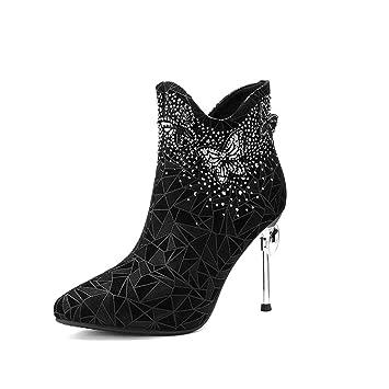 7c7255890 Scrub Nuevos Modelos de otoño e Invierno Botas Cortas con Diamantes de  imitación Puntiagudos Zapatos de ...