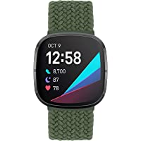 Unnite Braided Elastic Solo Loop Band Compatible with Fitbit Versa 3/Fitbit Sense Sport Loop Straps Nylon Woven Stretchy…