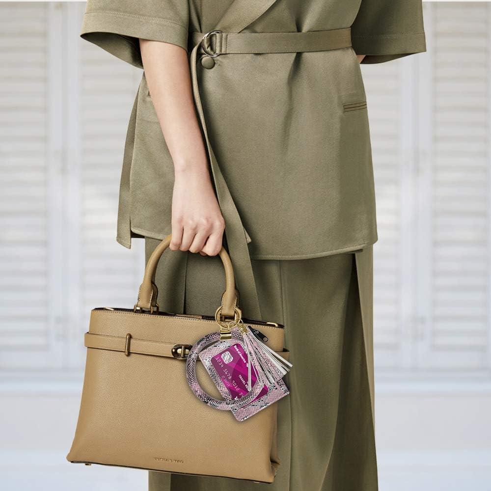 Keyring Bracelets,SHANSHUI PU Keychain Bangle Wristlet Bracelet Tassel Card Key Holder for Women