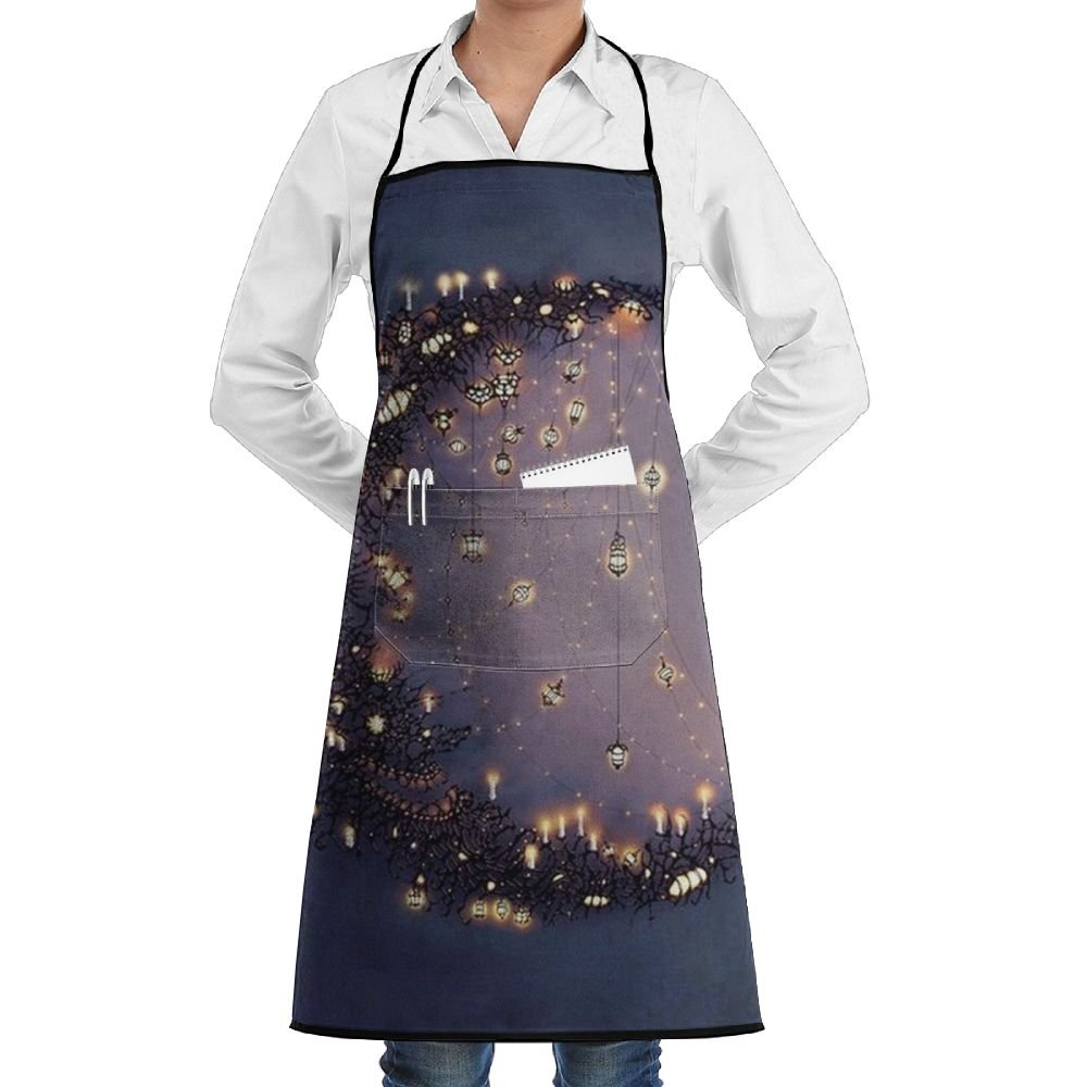 QKGIPD Moon Light Bulb Bib Apron With Pockets For Women And Men