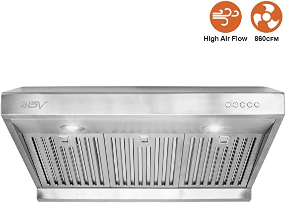 BV Range Hood - 30 Inch 860 CFM Under Cabinet Stainless Steel Kitchen Range Hoods