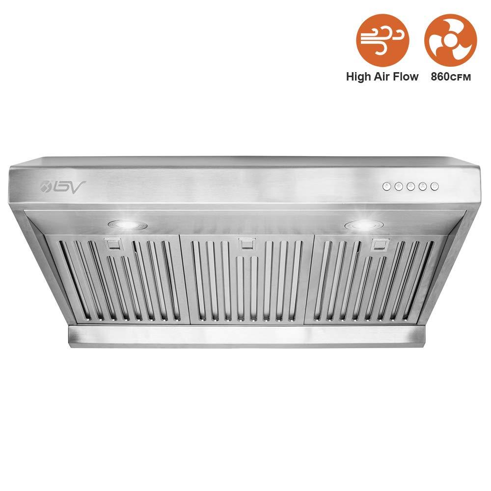 BV Range Hood - 30 Inch 860 CFM Under Cabinet Stainless Steel Kitchen Range Hoods, Dishwasher Safe Baffle Filters w/LED Lights, Ducted Kitchen Exhaust Fan Hood by BV