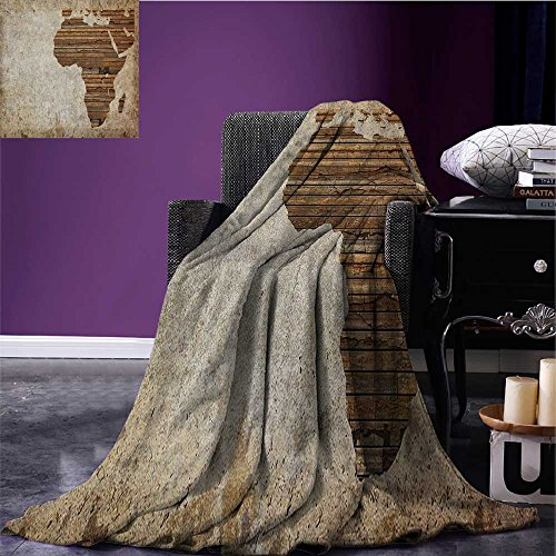 African picnic blanket Geography Theme Grunge Vintage Wooden Plank and Africa Map Digital Print soft throw blanket Tan Umber and Brown size:51