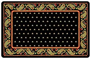 Novelty Paisley Mat, 23 by 36-Inch, Black