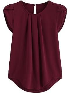 1ed953a76b6e43 Milumia Women s Casual Round Neck Basic Pleated Top Cap Sleeve Curved  Keyhole Back Blouse