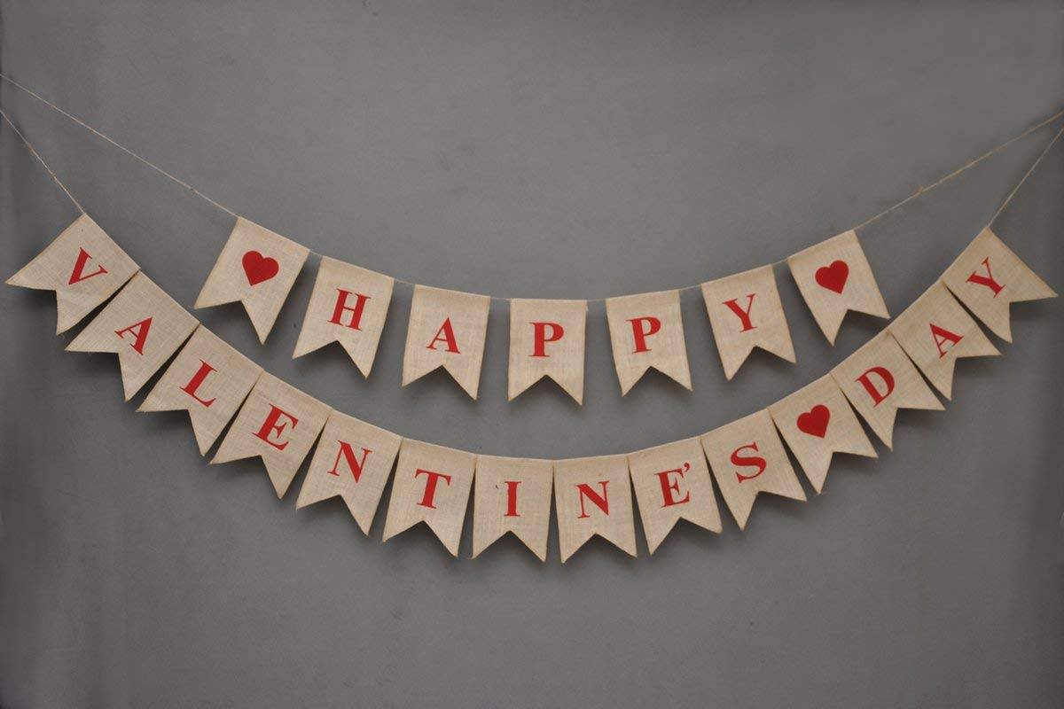 graphic regarding Happy Valentines Day Banner Printable identified as Joyful Valentines Working day Banner - get pleasure from - Burlap Banner - Window And Doorway Hang - Valentine Working day Bunting - Photograph Props - Detachable - valentines working day
