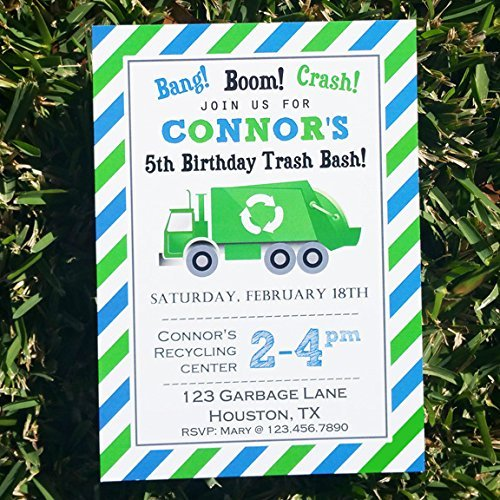 Garbage Truck Invitation Printable or Printed - Trash Bash Collection