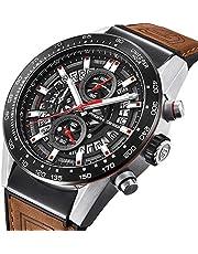 Herren-Armbanduhr, braunes Leder, analog, Chronograph, Quarzuhr, Business-Kleid, Sport-Armbanduhr für Herren