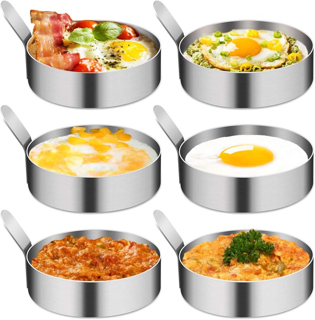 4/6 Pack Egg Ring, Egg Mold Ring Non Stick Stainless Steel 3Inch Egg Mold Egg Rings for Frying Eggs Pancake Sandwich Cooking Beefsteak Kitchen Gadgets for Breakfast