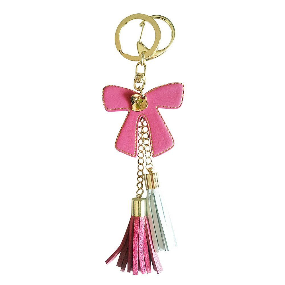 Bow Design Leather Charm with two tassels (hot-pink)