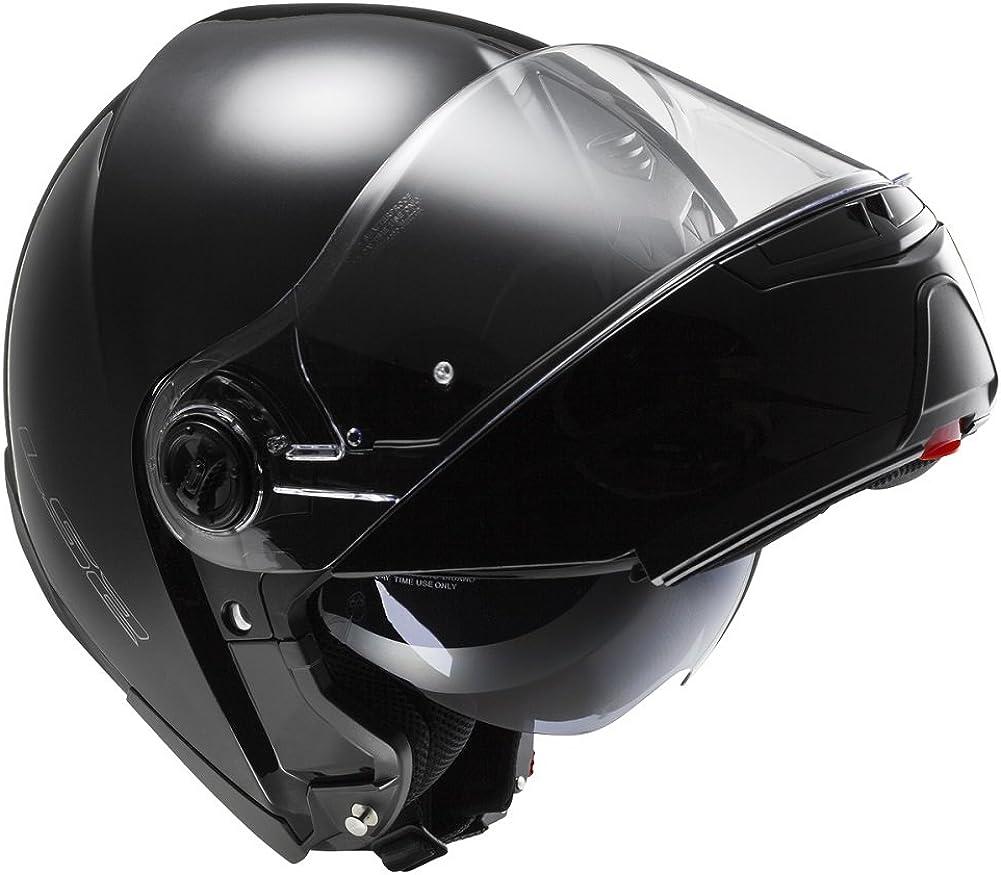 M , GLOSS BLACK LS2 FF325 LATEST MODEL MODULAR FLIP STROBE MOTOR BIKE CYCLE CRASH PIN LOCK HELMET DOUBLE VISOR AND GRID BALACLAVA 57 to 58cm