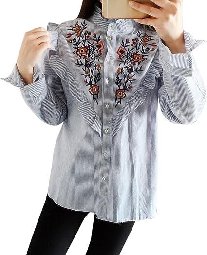 domybest moda mujer Floral bordado blusa manga larga rayas camisa Tops: Amazon.es: Coche y moto