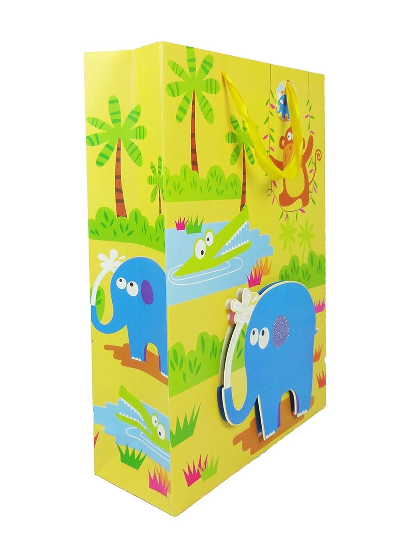 Emartbuy Set von 4 Luxus Geschenktasche Stark Laminiert Papier Gemischte Farben 3D-Effekt 30 x 41.5 x 12 cm Mehrfarbige Tiere