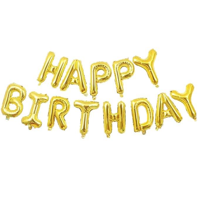 Juego de globos de aluminio con letras de feliz cumpleaños ...