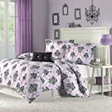 Purple and Black Comforter Set Mi-Zone Katelyn Comforter Set Full/Queen Size - Purple, Black, Damask – 4 Piece Bed Sets – Peach Skin Fabric Teen Bedding for Girls Bedroom