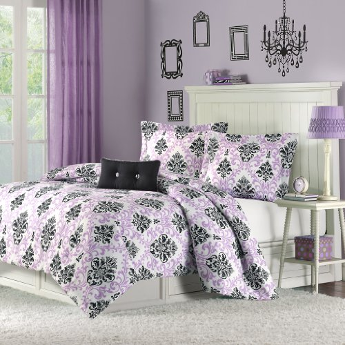 Damask Full Comforter Set (Mizone Katelyn 4 Piece Comforter Set, Full/Queen, Purple)
