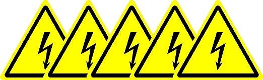 KPCM Display étiquette de sécurité ISO Sign – International Attention, symbole délectricité – Auto Autocollant 50 mm de diamètre (lot de 5 stickers)