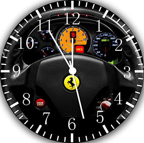 (Borderless Supercar Steering Wheel Frameless Wall Clock W457 Nice for Decor Or Gifts)