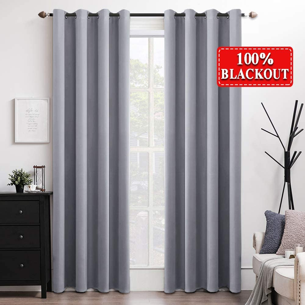 "MIULEE 100% Blackout Curtains Thermal Insulated Solid Grommet Curtains/Drapes/Shades for Bedroom Living Room 2 Panels, 52"" x 63"", Light Grey"