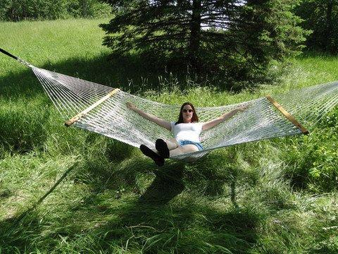 Outdoor Double Cotton Rope Hammock Natural Color- Sets up...