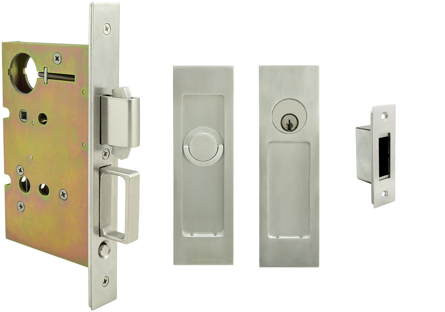 INOX FH27PD8450-234-TT09-32D Mortise Pocket Door Lock Entry Function with 2-3/4-Inch Backset, TT09 Thumb Turn and Cylinder, Satin Stainless Steel