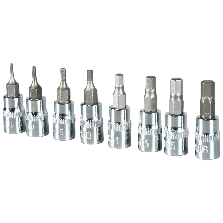 FreeTec 34pcs Master Hex Bit Socket Set SAE and Metric S2 Steel Hex Bit Socket
