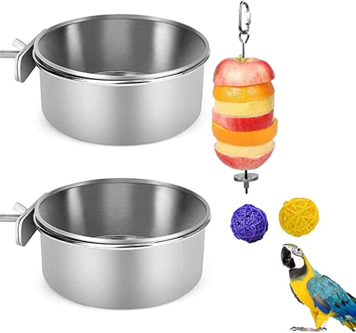 DHP-US 2Pcs Bird Feeder Bowls for Cage Parrot Feeder Cups, Stainless Steel Parakeet Food Dish, Hamsters Food Water Bowls with Clamp and 1 Fruit Skewer Holder and 2 Rattan Ball for Cages Small Pets