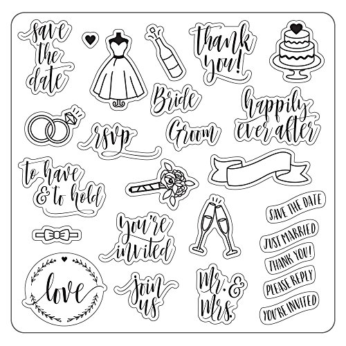 Fiskars 127600-1001 Lia Griffith 8X8 Inch Clear Stamps, Wedding Day, Teal Green/White ()