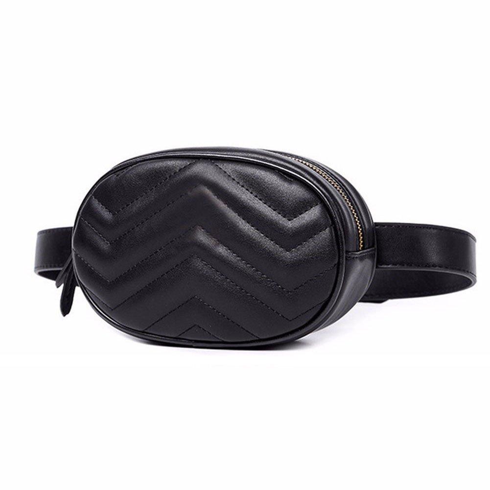Women Waist Packs Travel Elegant PU Leather Waist Bag Phone Pouch Small Belts Bag Fashion Fanny Packs Black Cross Body Bags