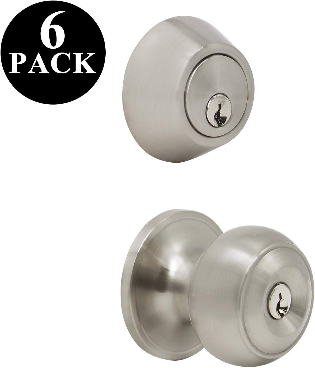 Probrico 10 Sets of Front Exterior Door Knob Set with Single Cylinder Deadbolts in Satin Nickel Finish,Keyed Alike