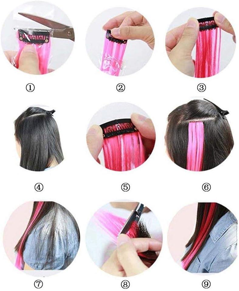 Extensiones de pelo con clip de colores, 57 cm, resistente al ...