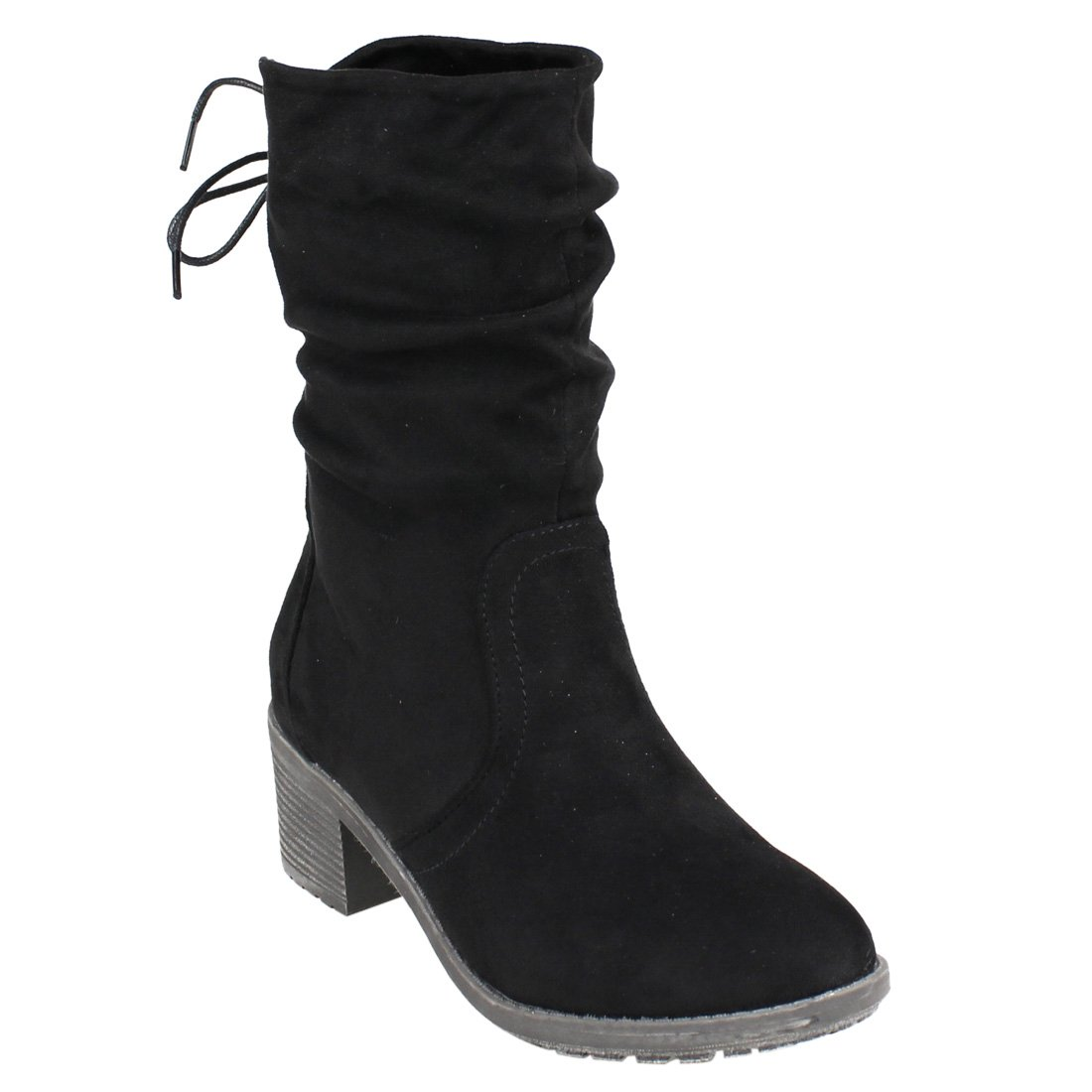 9687c0507ae BESTON FM31 Women's Back Lace Side Zipper Stacked Heel Mid-Calf Slouchy  Boots