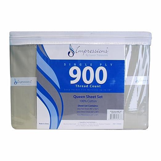 Impressions Superior - Juego de sábanas 152 x 203 cm, 100% algodón de 900 Hilos y de un Solo Cabo, Color Piedra Liso, 4 Piezas: Amazon.es: Hogar