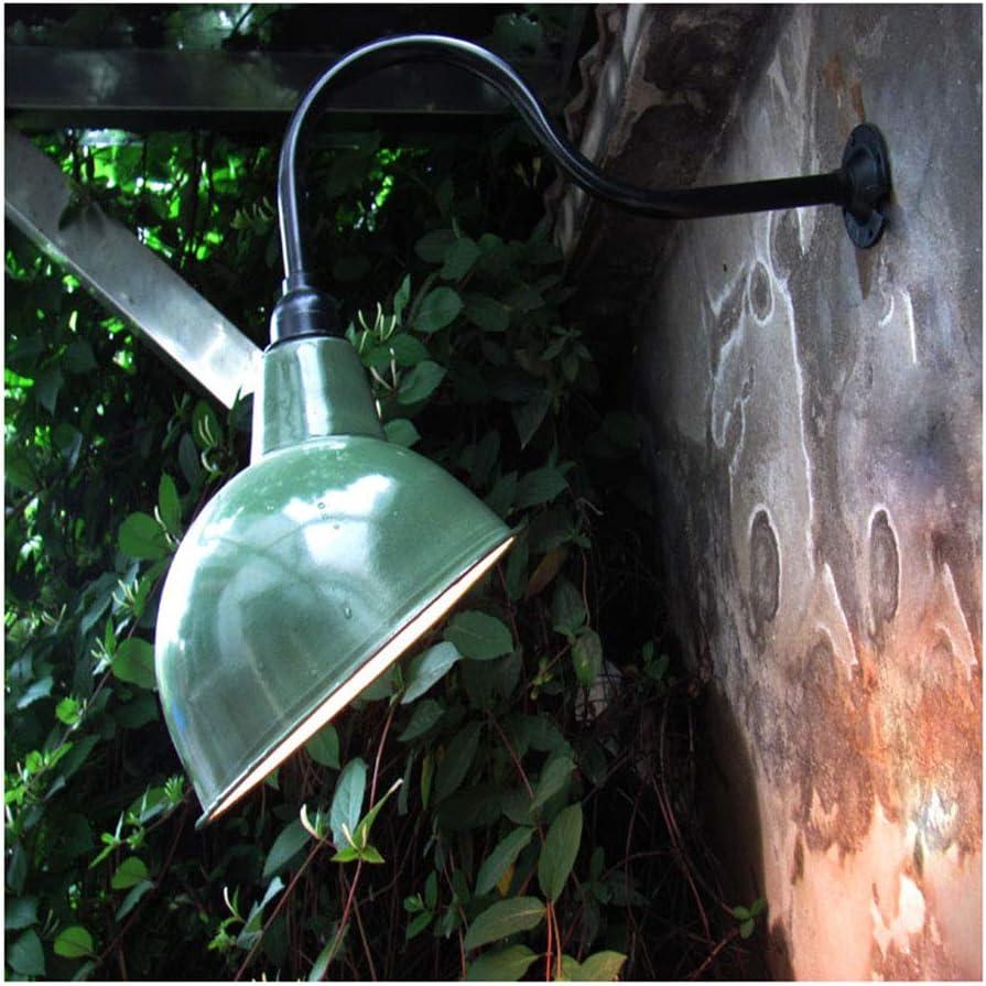 Aire Libre Apliques de pared Industrial Lámpara de Pared con Verde Esmalte Sombra Exterior Apliques Vintage Antiguo lámpara de jardín Impermeable IP45 para Escaleras Pasillo Balcón Fuera de Pared,B