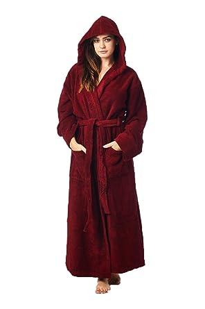 6c9c6d783f High Style Men Women 100% Turkish Cotton Full Length Hooded Robe Bathrobe  Dressing Gown (Burgundy