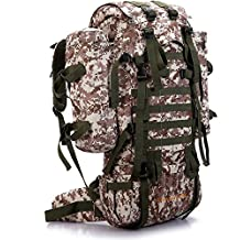 Seunota 80L Outdoor Military Tactical Camouflage Bag Large Capacity Men Women Camping Hiking Mountaineering Waterproof Travel Backpack (Digital Sand)