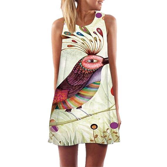 Naturazy Vestidos Verano Summer Casual Dress Floral Print Strapless Maxi Dresses 3D Estampado Vestido Playa Ocasional Tarde del Partido ImpresióN Lady Mini: ...
