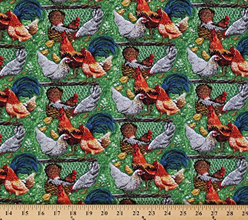 (Cotton Down On The Farm Chickens Rooster Hen Chick Chicks Farmyard Fowl Cotton Fabric Print by the Yard (8185))