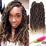 Stamped Glorious Pre-twisted Small Passion Twist Hair Black Mixed Blonde Spring Twist Hair Crochet Curly Hair 4 Packs Pre-looped Passion Twist Crochet Braids(1B/27#)